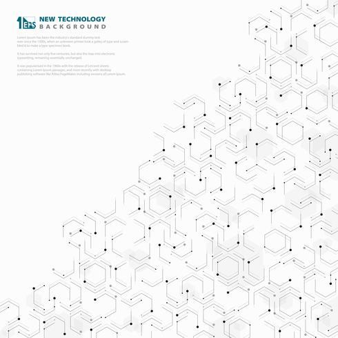 Molde branco e cinzento do projeto geométrico sextavado abstrato do teste padrão da tecnologia. ilustração vetorial eps10