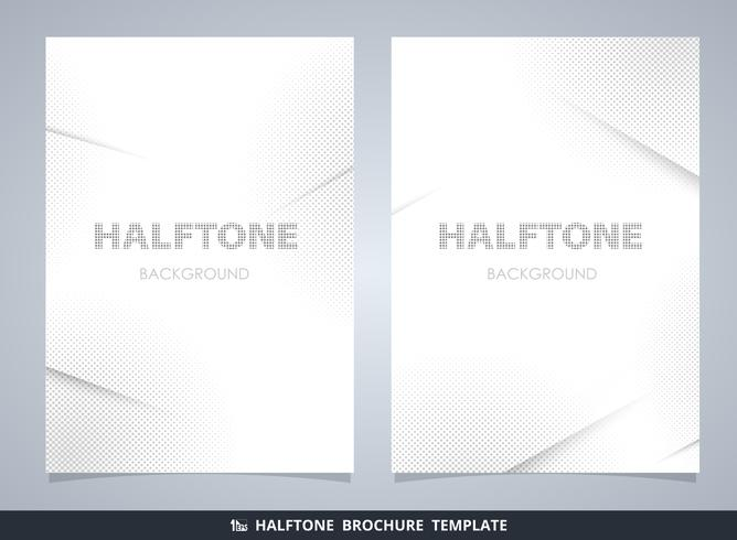 Abstract modern halftone brochure mockup in gray decorating background.  vector