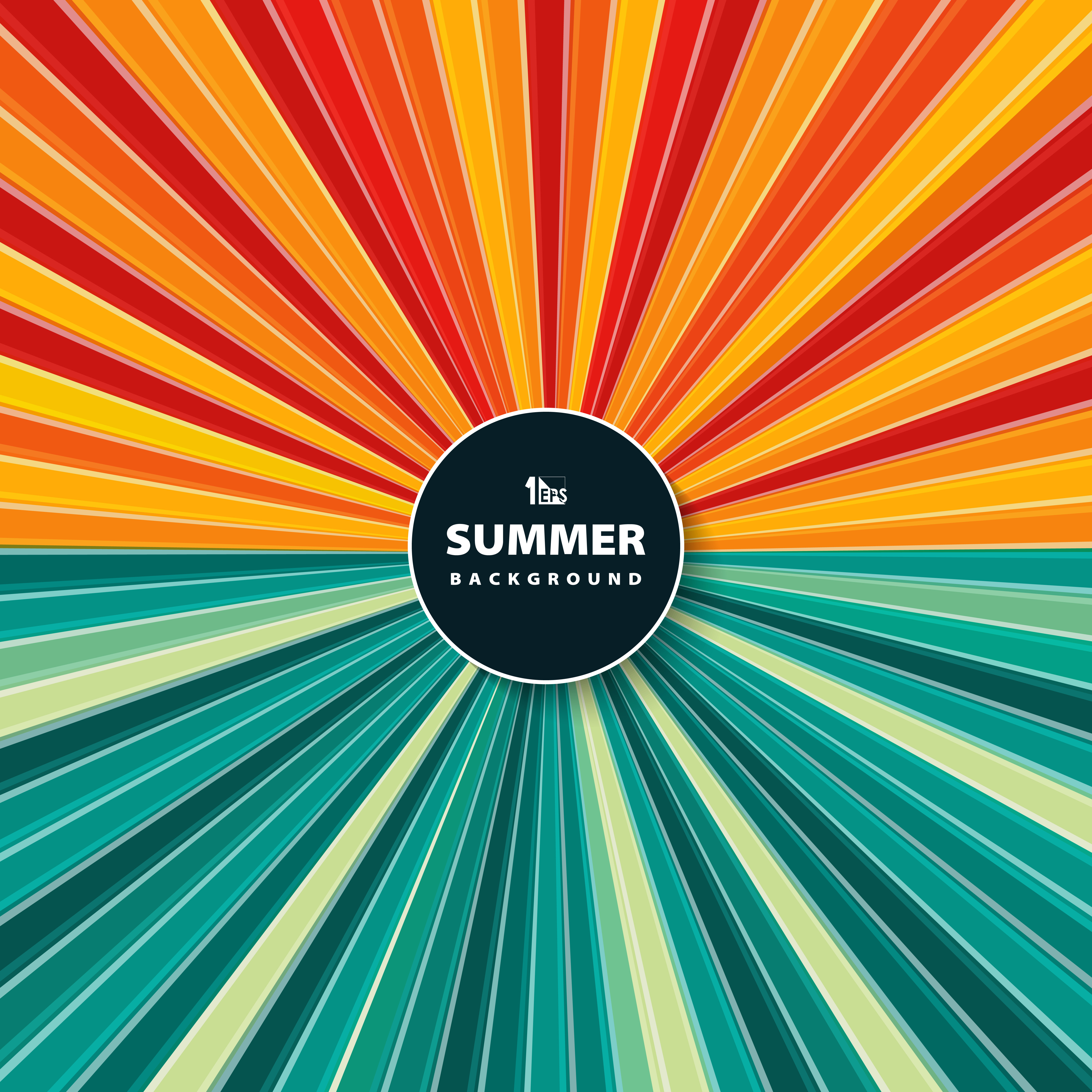 Abstract Colorful Sun Burst Of Circle In Summer Time