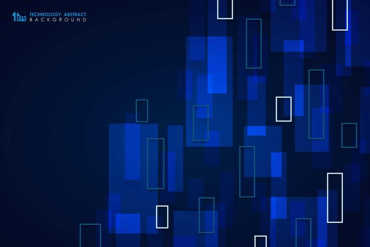 Abstract blue technology square pattern design cover background. illustration vector eps10