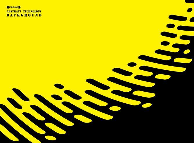 Línea abstracta de la raya de negro en fondo amarillo. vector