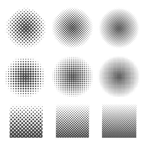 Abstract halftone set of circles and square.