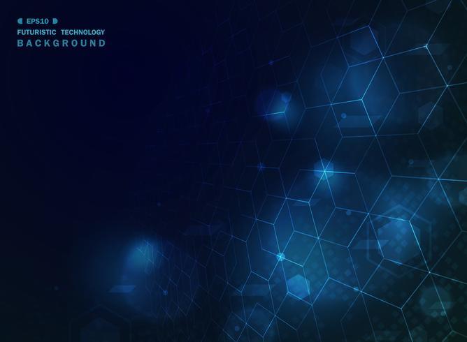 Fondo geometrico di tecnologia blu astratta con effetto.