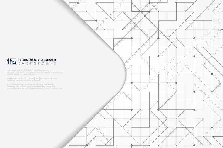 Geometrisches Dreieckquadrat der grauen Linie des abstrakten Vektors punktierte minimale Designabdeckung der Technologie. Abbildung Vektor eps10