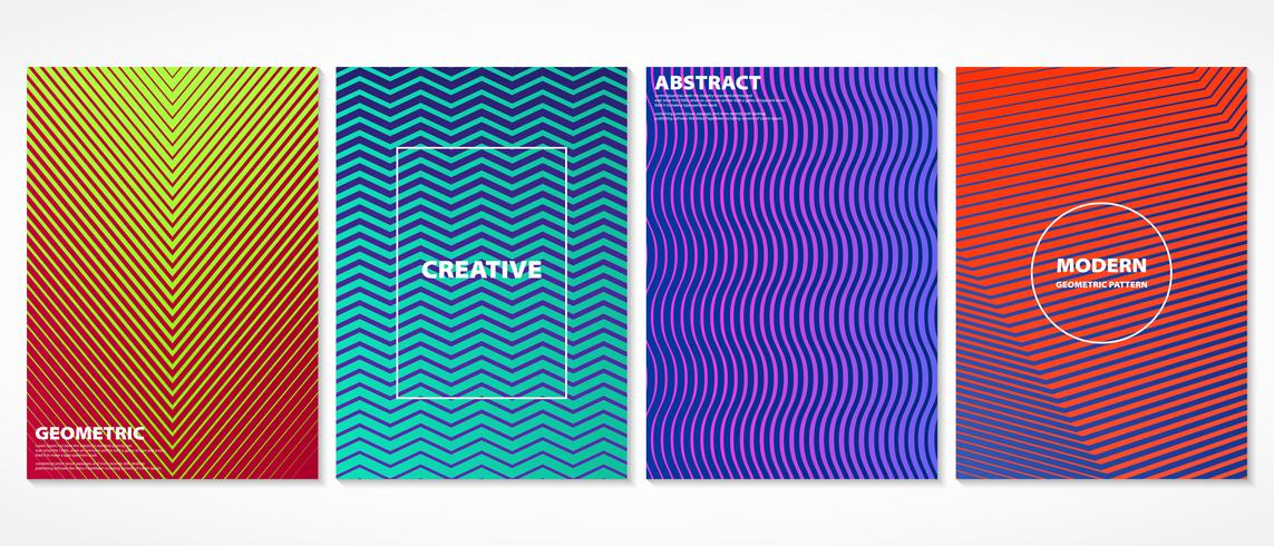Abstract colorful minimal geometric covers pattern design.  vector