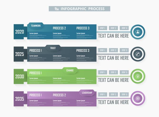 Infographic Prozesshintergrund des bunten Geschäfts. vektor