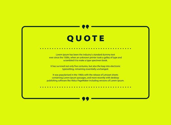 Diseño verde abstracto del vector de la cita para el diseño de la plantilla de la copia del texto del discurso. vector eps10