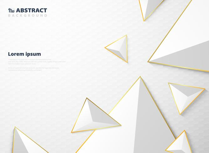 Abstract gradient white triangle polygon pattern with golden frame background. vector