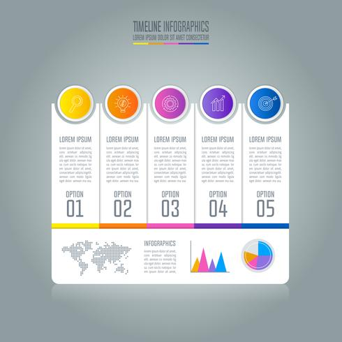 Timeline infographic business concept with 5 options