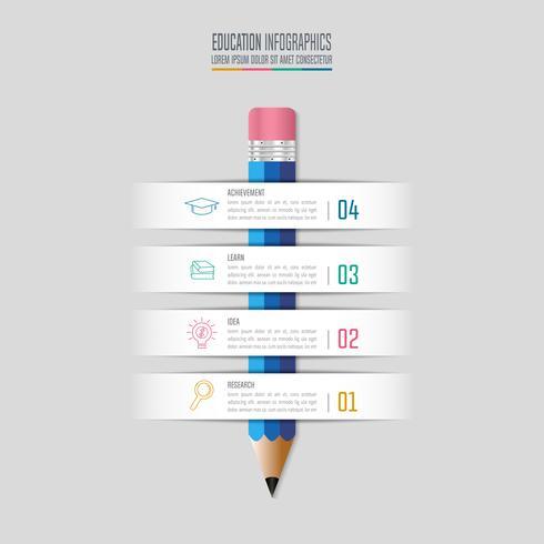 Bildung Infografiken Vorlage 4-Schritt-Option. Infographic Designvektor der Zeitachse.