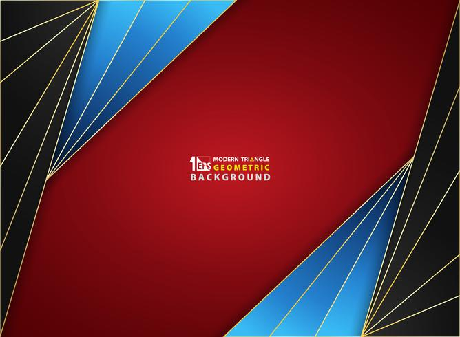 Abstract background luxury golden frame on gradient red black blue smooth soft pattern color cover.  vector