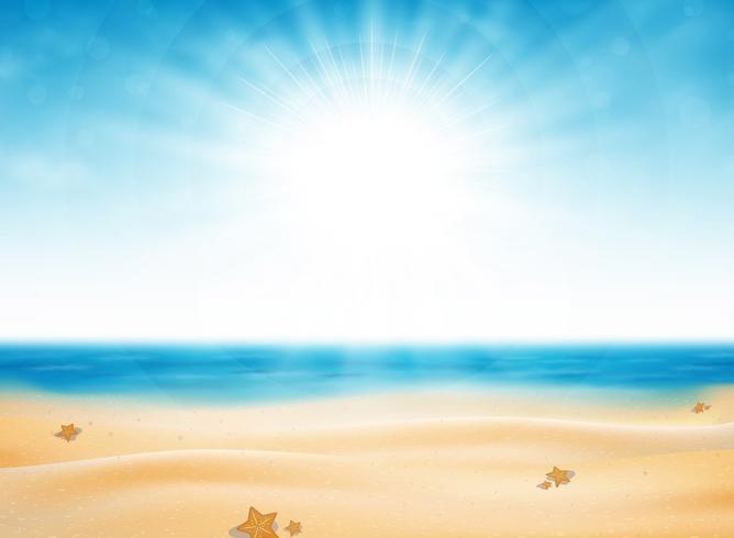 Sommarstrand virv av solbrott med blå himmelbakgrund. Dekorera för att resa i naturen. Du kan använda för annons, affisch, utskrift, konstverk.