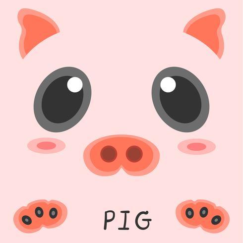 Projeto 2d da imagem animal abstrata do porco do desenho. vetor