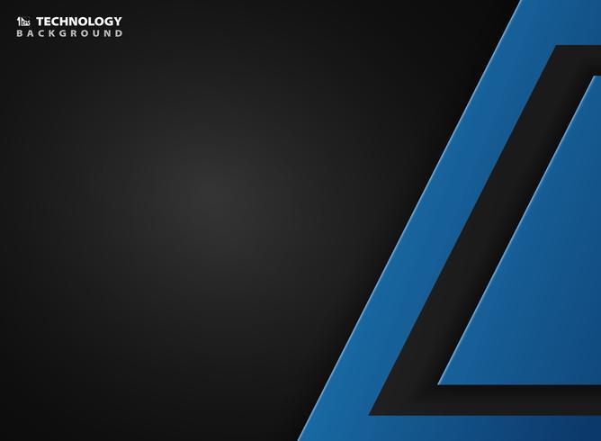 Tecnologia astratta del blu su sfondo nero sfumato. È possibile utilizzare per annunci, poster, web, brochure, design di opere d'arte.