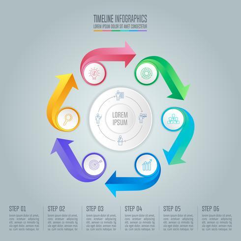 Diseño infográfico concepto de negocio con 6 opciones. vector