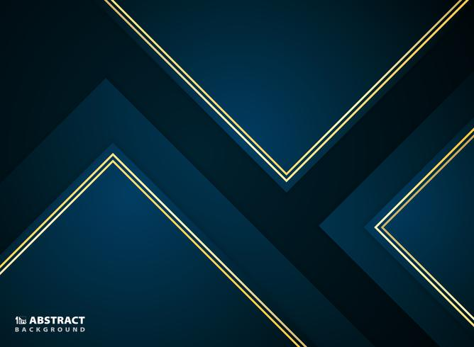 Abstrakte Papierschnittsteigung dunkelblau mit goldenem Rahmenentwurf.