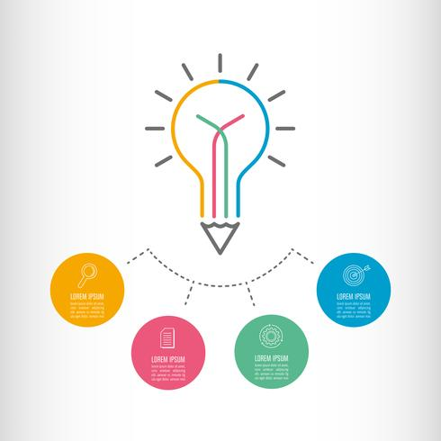 Concepto de negocio infografía línea de tiempo con 4 opciones.