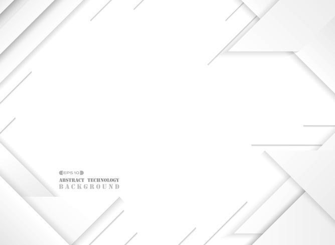 Samenvatting van futuristisch grijs-wit geometrisch modern patroon op gradiënt witte achtergrond. vector