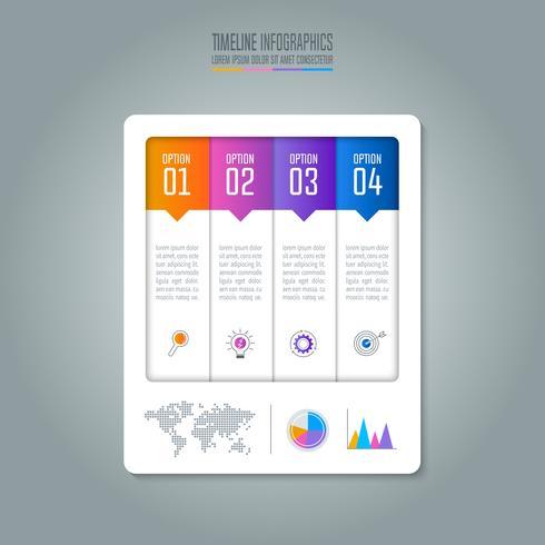 Concetto di business infografica Timeline con 4 opzioni.
