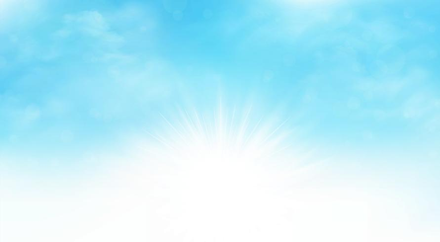 Summer background of sunburst blue sky wide scene artwork. You can use for ad, poster, cloudy day print, cover design.