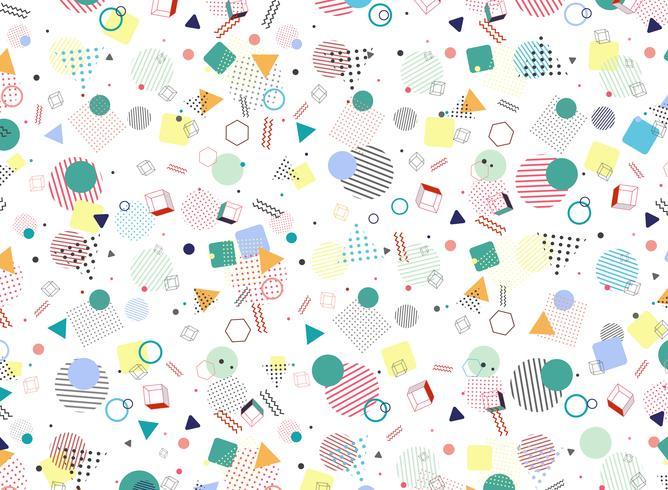 Moderner geometrischer bunter Musterart-Formhintergrund Memphis. Verzierung in der Abstraktionsdesigngrafik für Anzeige, Plakat, wickelnd, Grafik ein.