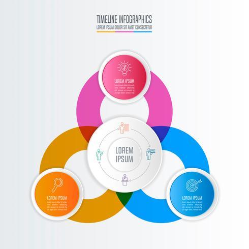 Diseño infográfico concepto de negocio con 3 opciones.