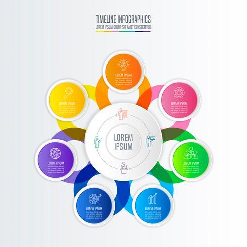 Diseño infográfico concepto de negocio con 7 opciones.