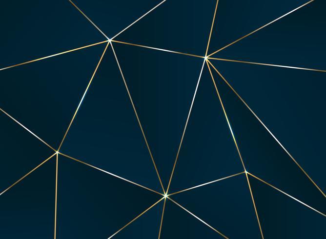Modèle pentagonal abstrait avec motif de luxe ligne dorée.