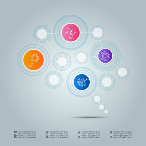 concept de connexion entreprise de conception infographique sous forme de symbole du cerveau avec 4 options.