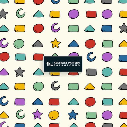 Abstraktes buntes geometrisches Musterdesign für Kinderhintergrund. Sie können für Papierumhüllung, Anzeige, Plakat, Druck verwenden.