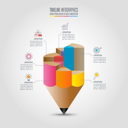 Plantilla de infografías de educación opción de 6 pasos. Vector de diseño infográfico línea de tiempo.