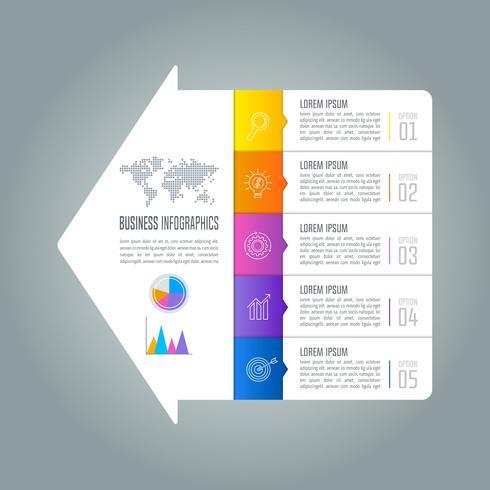 Diseño infográfico concepto de negocio con 5 opciones. vector