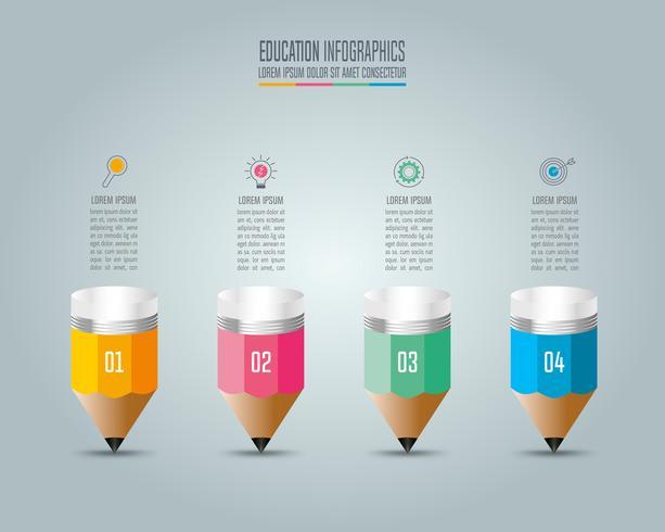 Infografia de educação modelo 4 passo opção.
