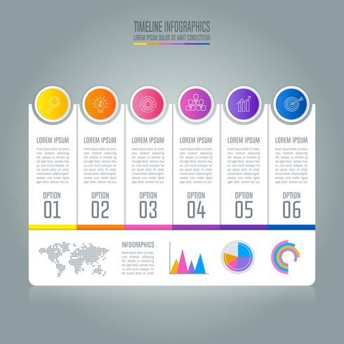 Timeline infographic business concept with 6 options.