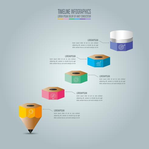 Plantilla de infografías de educación opción de 5 pasos. Vector de diseño infográfico línea de tiempo.