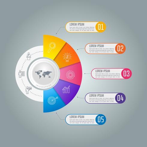 Concepto de negocio infografía línea de tiempo con 5 opciones. vector
