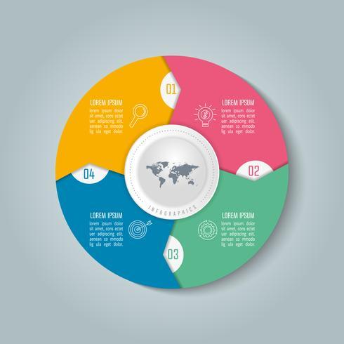 infografisk design affärsidé med 4 alternativ.