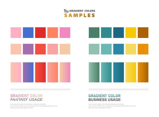 Abstract color theme gradient samples for usage.