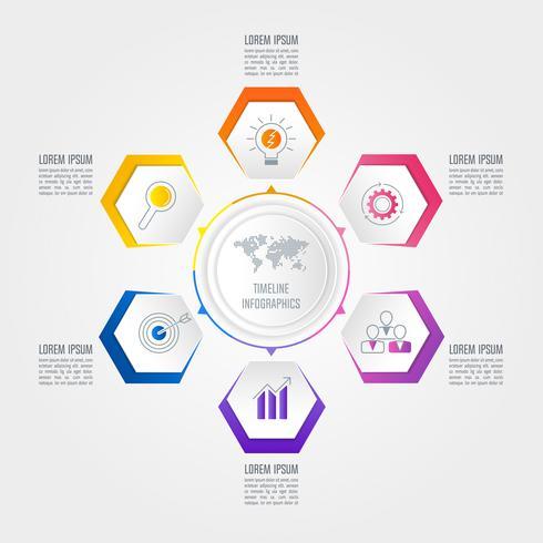 Tijdlijn infographic bedrijfsconcept met 6 opties.