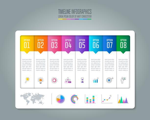 Conceito de negócio infográfico Timeline com 8 opções.