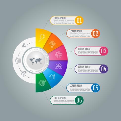 Concept d'entreprise infographie Timeline avec 6 options.