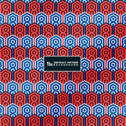Resumen contrato de colores azul y rojo del patrón de la vendimia en el fondo geométrico deco mínima. Usted puede utilizar para el diseño de ilustraciones de la cubierta de color. vector