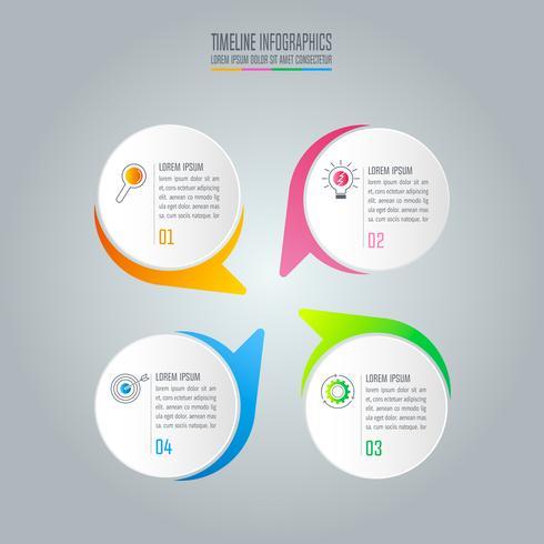 Infographik Design Geschäftskonzept mit 4 Optionen.