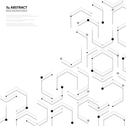 Decorazione esagonale nera astratta di progettazione della copertura del modello di nanotecnologia. illustrazione vettoriale eps10