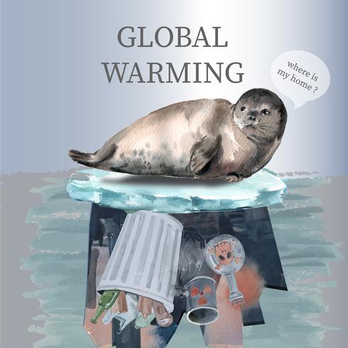 Riscaldamento globale e inquinamento. La campagna pubblicitaria di media sociali, conserva la progettazione del modello del mondo, progettazione creativa dell'illustrazione di vettore dell'acquerello