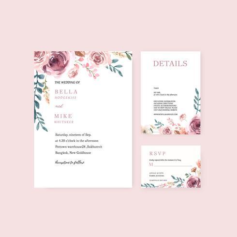 Lycklig bröllopskort blommig trädgård inbjudan kort äktenskap, rsvp detalj. rymdlayout vintage prydnad vacker, vattenfärg vektor illustration mall samling design
