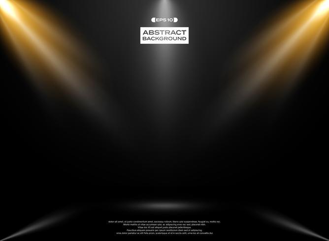 Estratto di presenation della stanza dello studio delle luci sul fondo del nero di pendenza.
