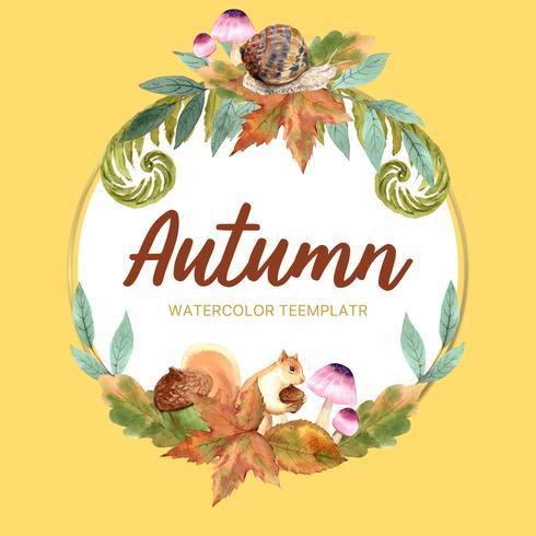 Marco de la guirnalda de la estación del otoño con las hojas y el animal. Tarjetas de felicitación de otoño perfectas para imprimir, invitación, plantilla, diseño de ilustración vectorial acuarela creativa vector