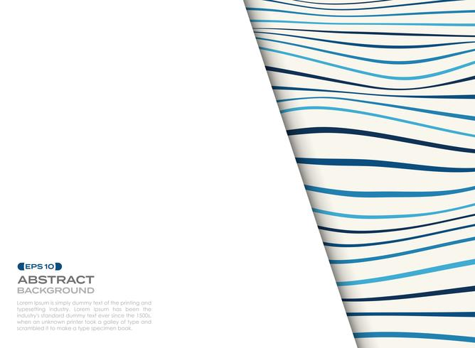 Abstract cover of blue wavy pattern with free space of text background.  vector