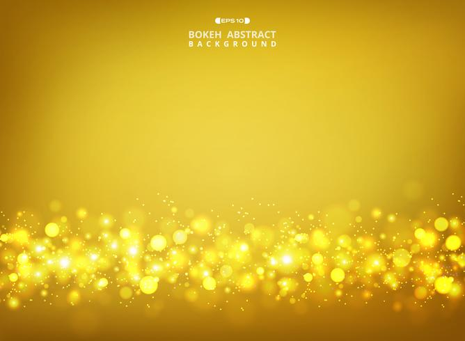 Abstract of golden glitters bokeh on gold gradient background.
